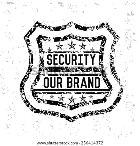 Security badge design on old paper,grunge vector - stock vector