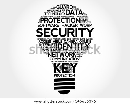 SECURITY bulb word cloud, business concept - stock vector