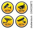 Security camera pictogram, set CCTV round signs - stock vector