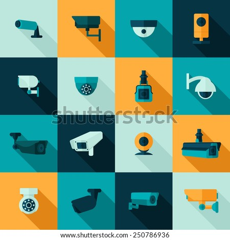 Security camera police video guard electronic icon set isolated vector illustration - stock vector