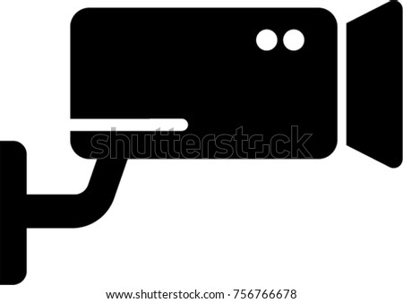Security Cctv Camera Flat Style Glyph Stock Vector 756766678