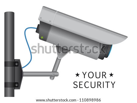 security cctv camera with open lens and wires on pole - stock vector