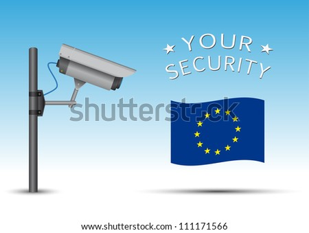 security cctv camera with open lens and wires on pole, eu flag - stock vector