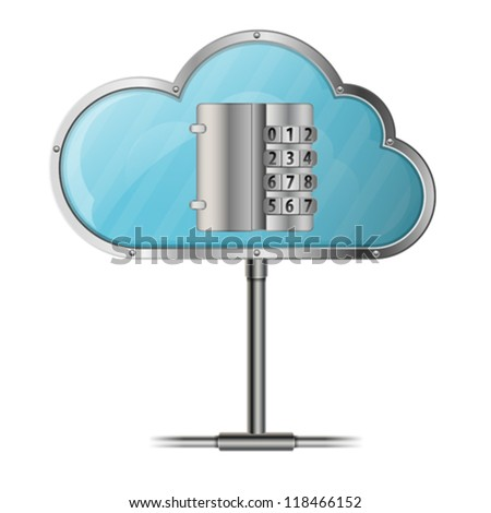 Security Cloud Computing Concept with Code Lock, icon isolated on white background, vector - stock vector