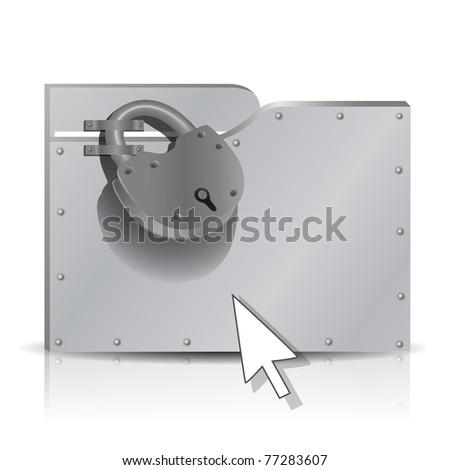 Security concept: locked  metal folder - stock vector
