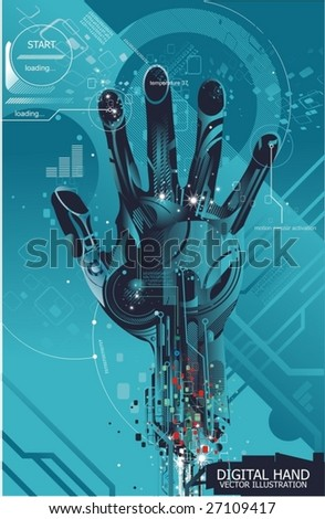 security concept with cybernetic hand,vector illustration - stock vector