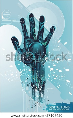 security concept with cybernetic hand, vector illustration - stock vector
