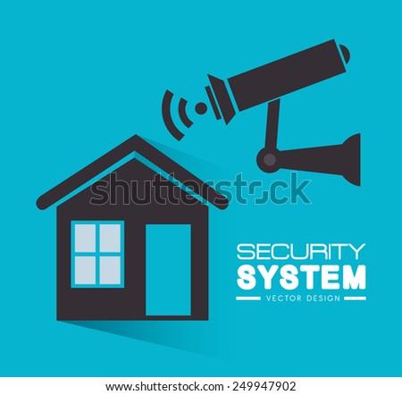 Security design over blue background, vector illustration. - stock vector