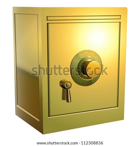 Security gold safe icon, vector illustration. - stock vector