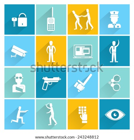 Security guard crime exploration surveillance camera criminal arrest flat set isolated vector illustration - stock vector
