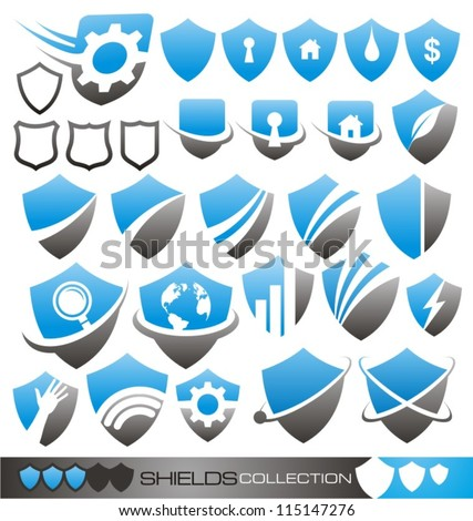 Security guard - set of shield icons, symbols logos and signs. - stock vector