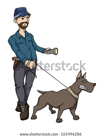 security guard with a dog, and a flashlight, vector illustration - stock vector