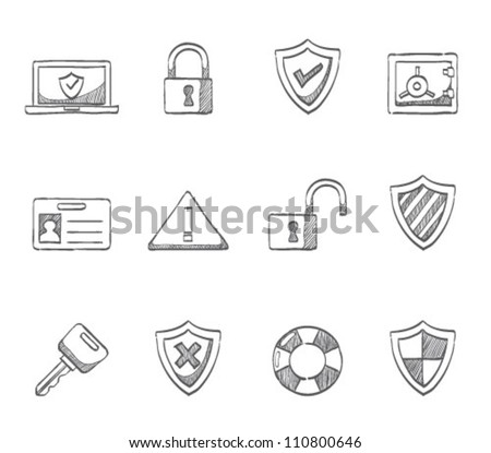 Security icon series in sketch - stock vector