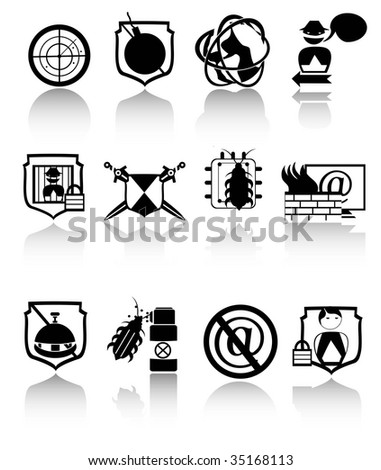 SECURITY ICONS BLACK,Easy tot manipulate, re-size or to edit - stock vector