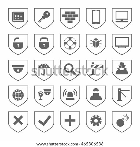 Security, icons, monochrome, vector. Grey, flat icons on the theme of protection and safety of people and computers. Grey images on a white background.