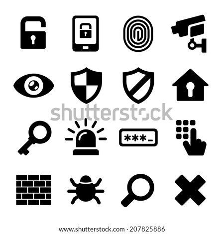 Security Icons on White Background. Vector Illustration - stock vector