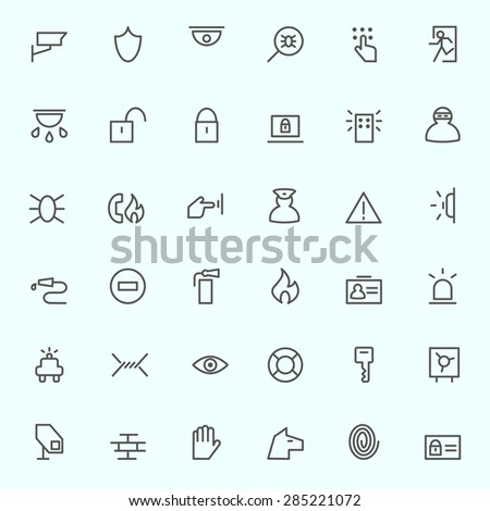 Security icons, simple and thin line design - stock vector