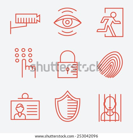 Security icons, thin line style, flat design - stock vector