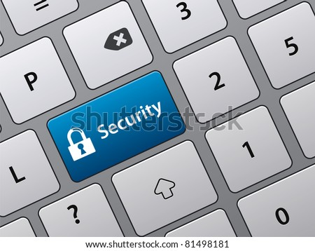 security key on the keyboard of laptop computer - stock vector