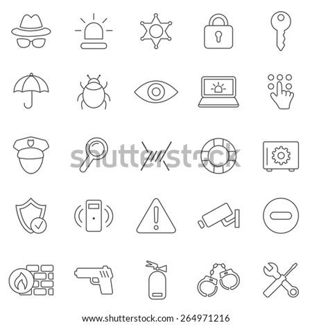 Security line  icons set.Vector - stock vector
