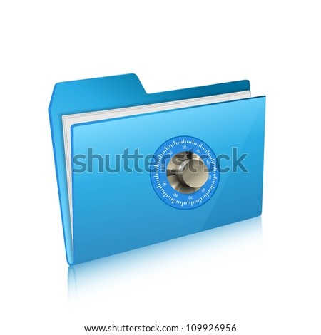 security of computer folder with combination lock - stock vector