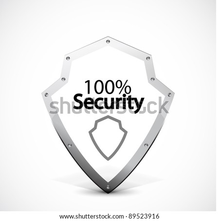 Security   protected shield made of metal stroke - stock vector