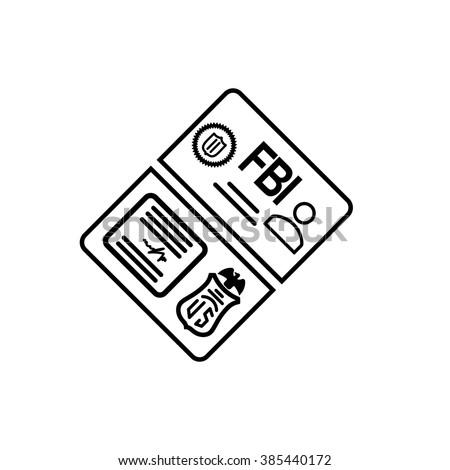 security set fbi id card line icon - stock vector