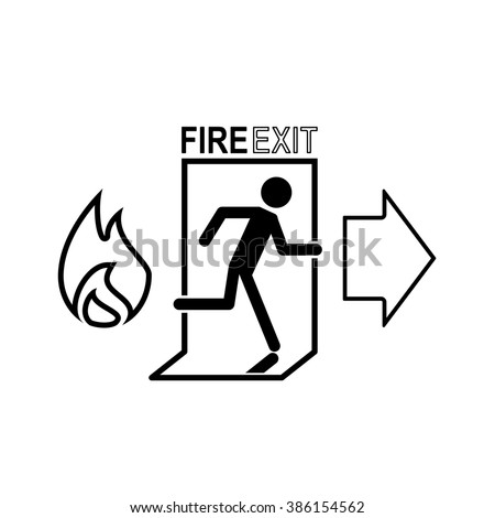 security set fire exit line icon - stock vector