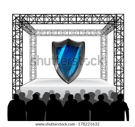 security shield on festival stage with spectators isolated on white vector illustration - stock vector