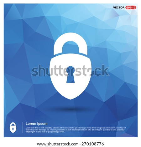 Security Shield Padlock icon. vector illustration. Blue geometric pattern, triangles background, polygonal design. Polygon geometric. Vector illustration - stock vector