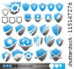 Security shield - set of shield icons, symbols and signs - stock