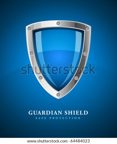 security shield symbol icon vector illustration on blue background - stock vector