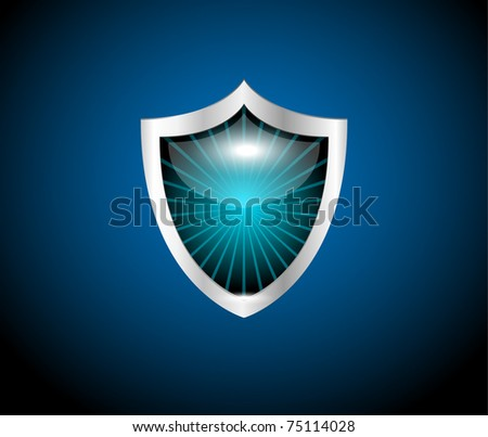 security shield symbol icon vector illustration on blue background, 10eps - stock vector