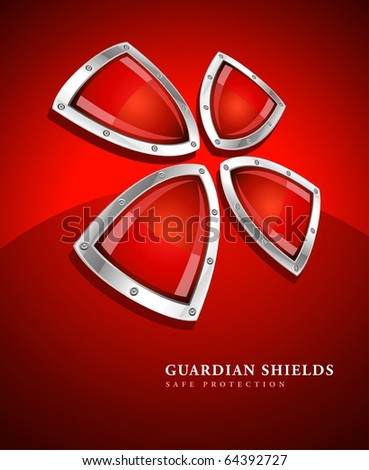 security shield symbol icon vector illustration on red background - stock vector