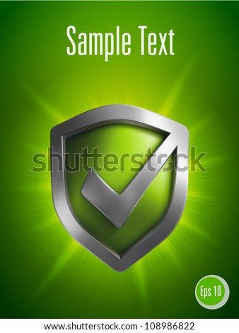 Security shield symbol on green background. Vector illustration - stock vector