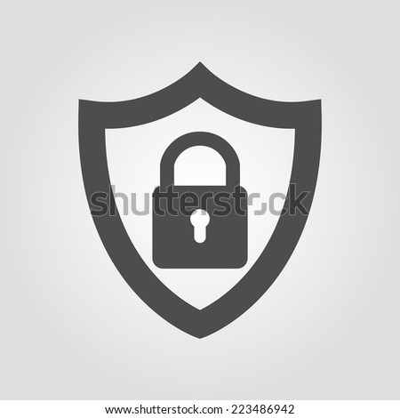 security shield with lock icon in flat style  - stock vector