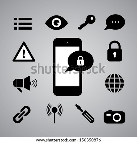 security symbol on gray background - stock vector
