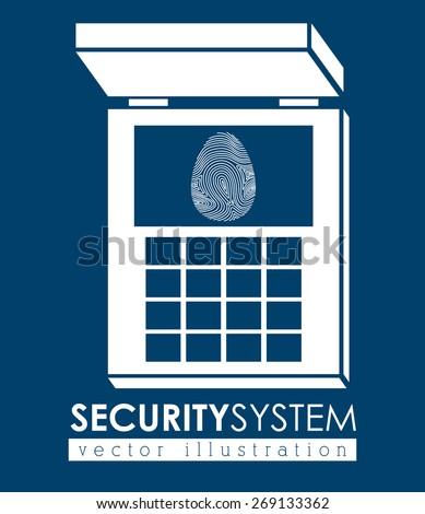 Security system design over blue background, vector illustration - stock vector