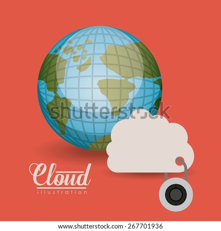 Security system design over red background, vector illustration - stock vector