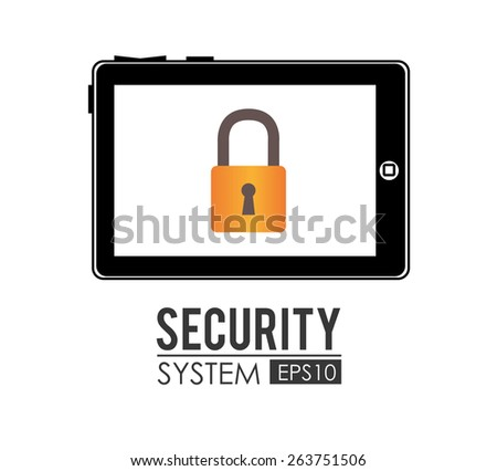 Security system over white background design, vector illustration. - stock vector