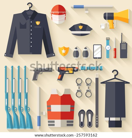 security uniform and set protection staff equipment. On icons flat style background concept. Vector illustration for colorful template for you design, web and mobile applications - stock vector