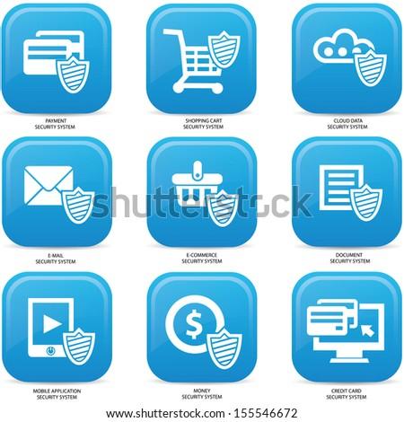Security web media icons,Blue version,vector - stock vector