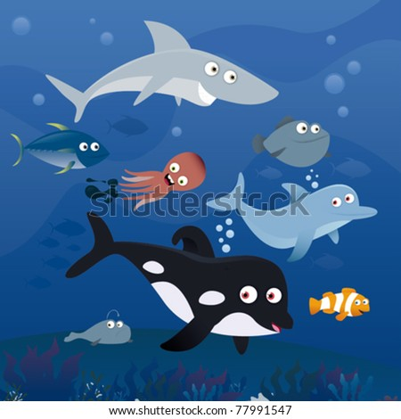 See life in the reef - stock vector