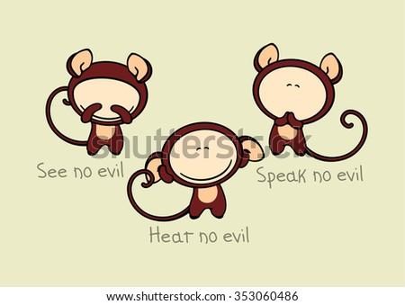 See no evil, hear no evil, speak no evil - stock vector