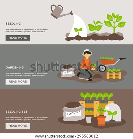 Seedling horizontal banner set with gardening flat elements isolated vector illustration - stock vector