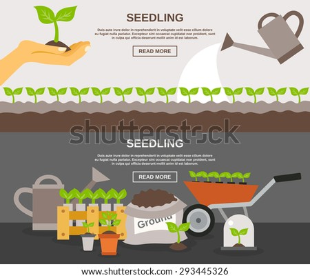 Seedling horizontal banner set with plants and gardening equipment flat elements isolated vector illustration - stock vector