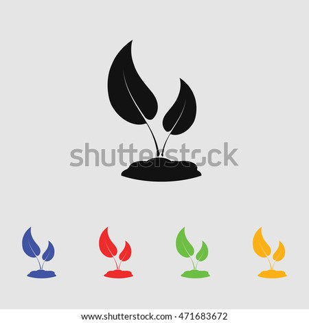 Seedling vector silhouette. Simple icon