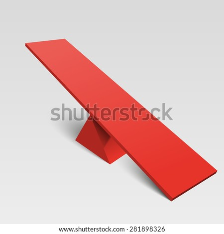 seesaw vector isolated object - stock vector