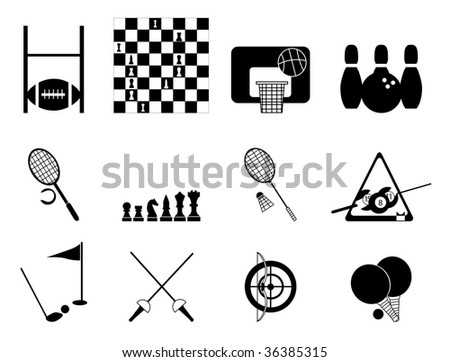 sef of sport icons black - stock vector