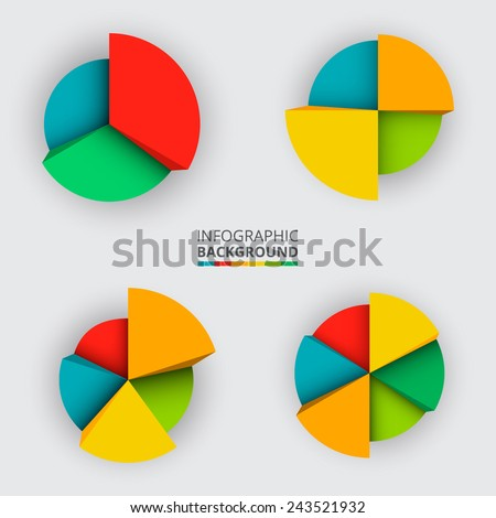 Segmented and multicolored pie charts set from three to six divisions. Vector illustration.